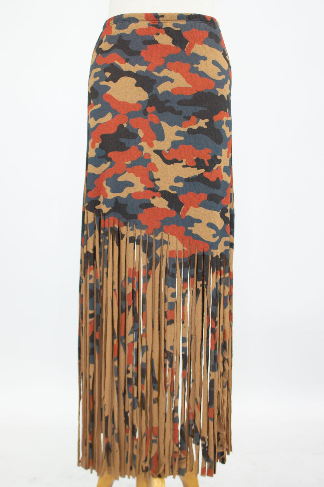 Camouflage Print Skirt with Fringe - Mocha