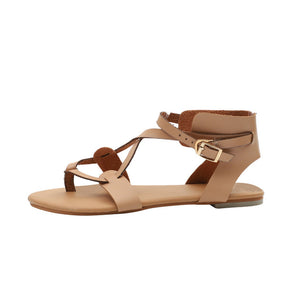 Women Flats Ankle Sandals 2018 Summer Round Toe