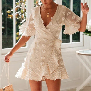 Lace Crochet V-neck Ruffle Hem Party Dress