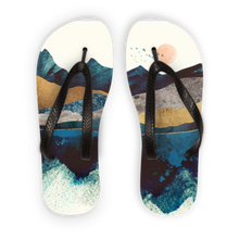 Load image into Gallery viewer, Blue Mountain Reflection Adult Flip Flops