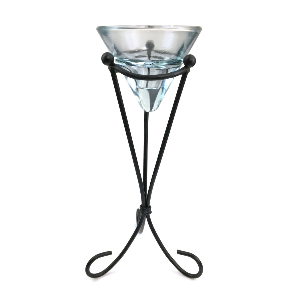 Glass Candleholder on Metal Pedestal