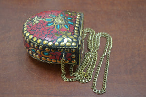 Handmade Red Shell Clutch Brass Metal Purse