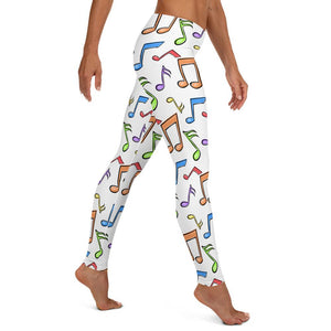 Musical Notes Seamless White Leggings