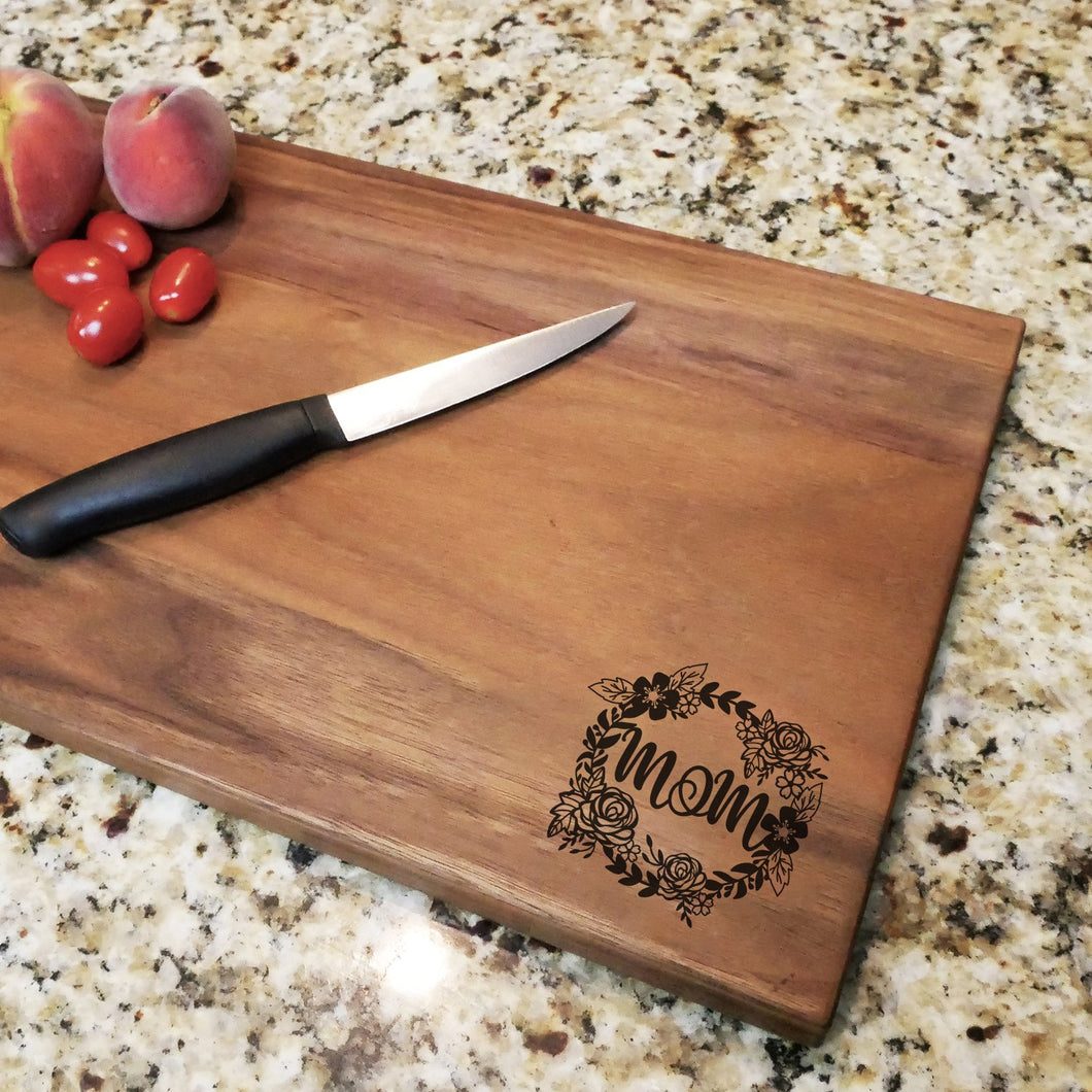 Mom Floral Wreath - Engraved Walnut Cutting Board (11