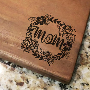 "Mom Floral Wreath - Engraved Walnut Cutting Board (11"" x 16"")"