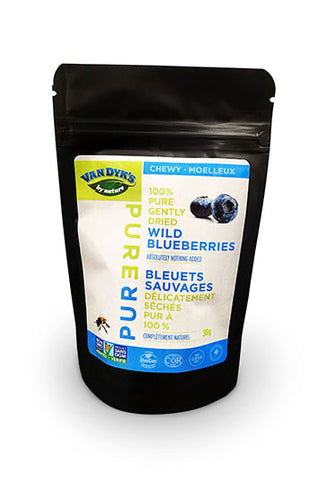 A pouch of Van Dyk's Chewy Wild Blueberries.