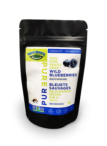 A pouch of Van Dyk's Crunchy Wild Blueberries.