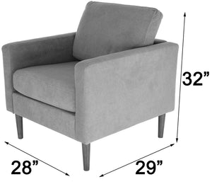 Zenvida Club Chair Modern Accent Arm Chair Upholstered Fabric Living Room Chair