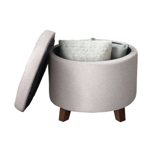 Zenvida Button Tufted Round Storage Ottoman With Removable Lid