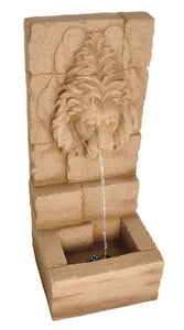 "Zenvida Lion Head Waterfall Outdoor Garden Fountain 39"" Sandstone Finish"