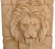 "Load image into Gallery viewer, Zenvida Lion Head Waterfall Outdoor Garden Fountain 39"" Sandstone Finish"