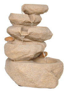 Zenvida Sandstone Tabletop Waterfall Fountain with LED Lights, 14""