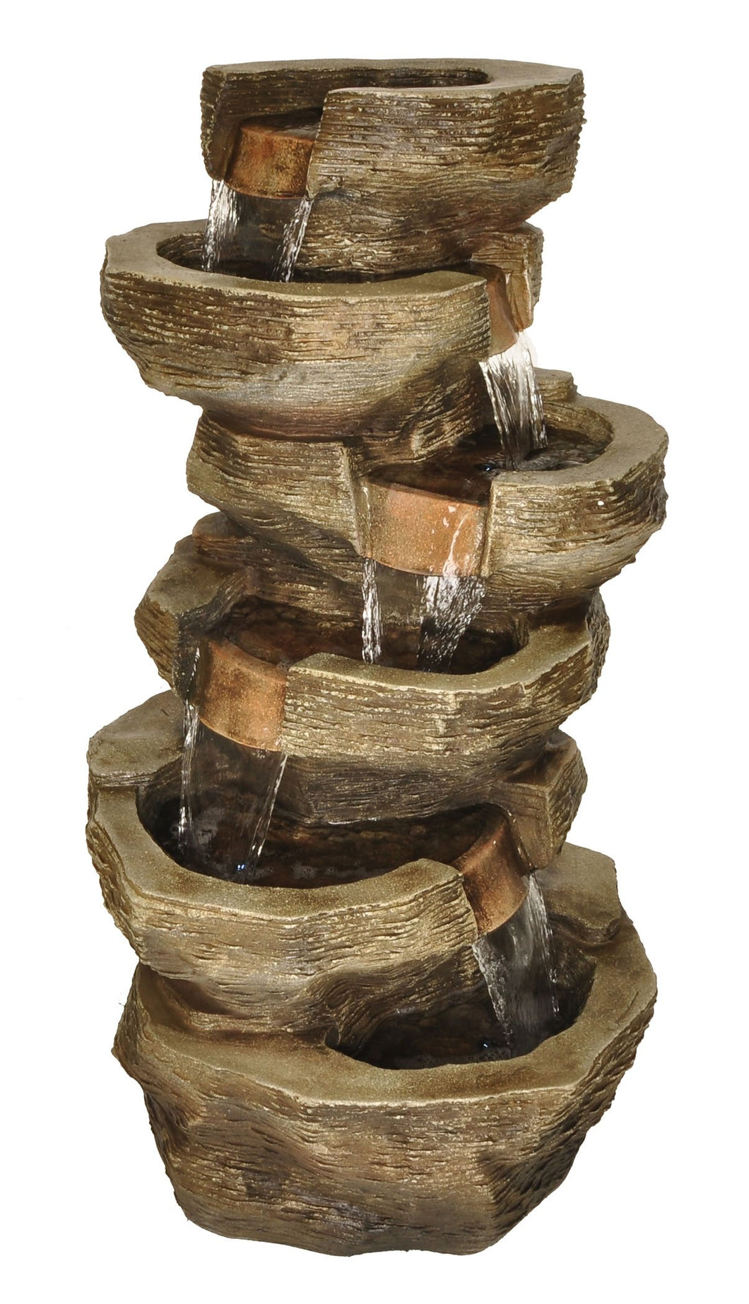Zenvida Tiered Rock Waterfall Outdoor Garden Fountain 39