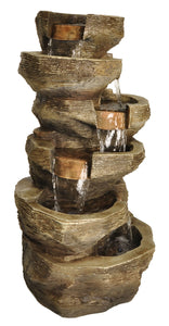 Zenvida Tiered Rock Waterfall Outdoor Garden Fountain 39""