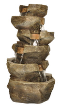 Load image into Gallery viewer, Zenvida Tiered Rock Waterfall Outdoor Garden Fountain 39""