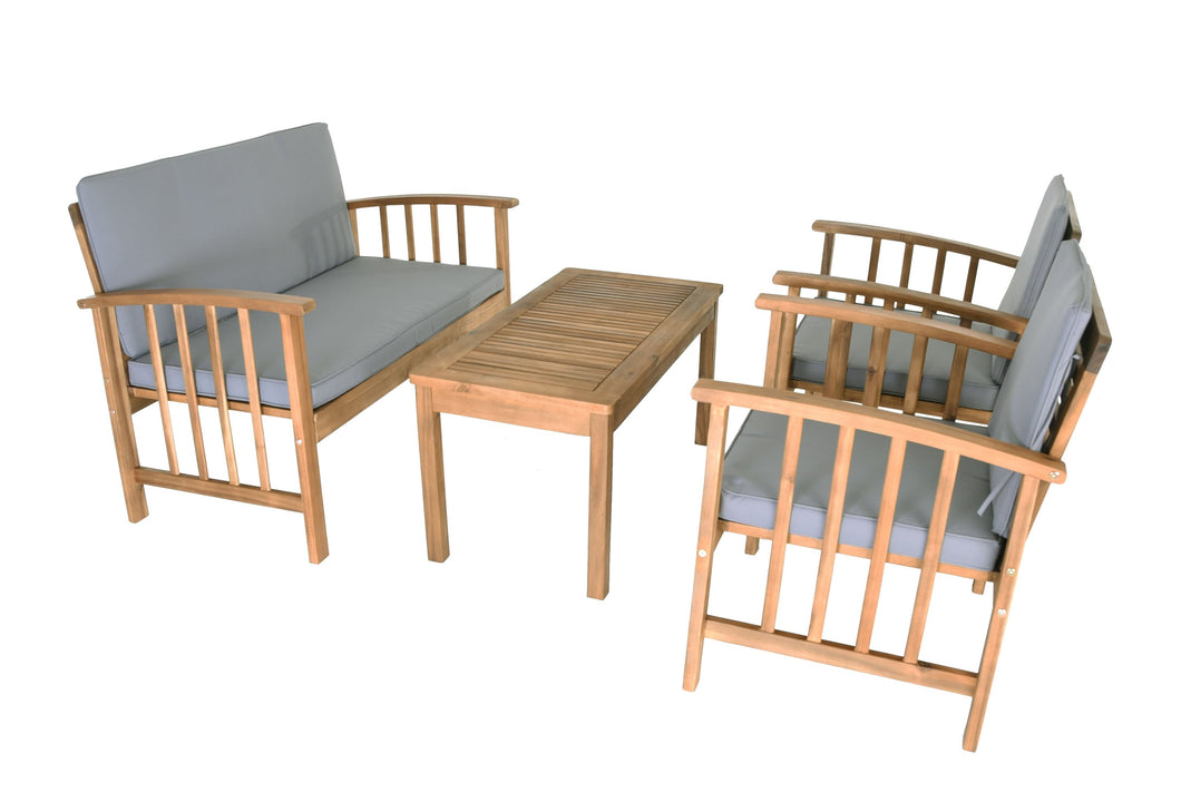Zenvida 4 Piece Patio Conversation Set Acacia Wood Loveseat, 2 Chairs, Coffee Table Outdoor Seating Group with Cushions