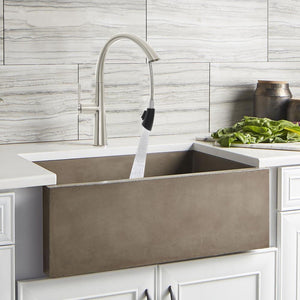 Zenvida Modern Single Handle High Arc Pull Down Kitchen Faucet in Brushed Nickel