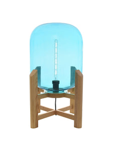 "Zenvida 23.6"" Floor Lamp Blue Glass Solid Ash Wood Modern Table LED Light"