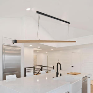 "Zenvida 1-Light LED Modern Kitchen Island Linear 46.5"" Pendant Wood Metal Hanging Lighting Fixture"