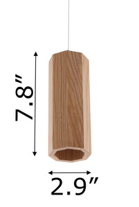 Zenvida 1 Light Single LED Pendant Solid Ash Wood Modern Octagon Small Minimalist Hanging Ceiling Lantern