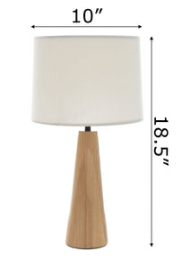 Mid Century Modern Table Lamp Hand Crafted Solid Ash Wood Base Drum Shade for Living Room Family Bedroom Nightstand