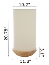 "Load image into Gallery viewer, Zenvida 21"" Modern Floor Lamp Solid Pine Wood Bowl Base Cylinder Linen Drum Shade"