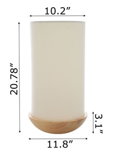 "Zenvida 21"" Modern Floor Lamp Solid Pine Wood Bowl Base Cylinder Linen Drum Shade"