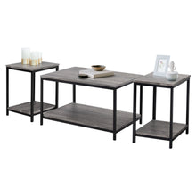 Load image into Gallery viewer, Zenvida 3 Piece Table Set - Includes Coffee Table and Two End Tables, Modern Industrial Metal and Wood Occasional Tables