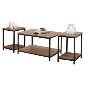 Zenvida 3 Piece Table Set - Includes Coffee Table and Two End Tables, Modern Industrial Metal and Wood Occasional Tables