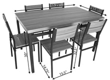 Load image into Gallery viewer, Zenvida 7 Piece Dining Set Rectangular Table and 6 Chairs