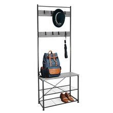 Load image into Gallery viewer, Zenvida Hall Tree Entryway Bench Shoe Storage Coat Rack Shelves Metal Frame Wood