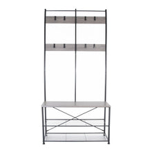 Load image into Gallery viewer, Zenvida Hall Tree Entryway Bench Shoe Storage Coat Rack Shelves Metal Frame