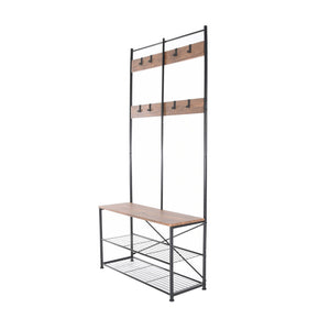 Zenvida Hall Tree Entryway Bench Shoe Storage Coat Rack Shelves Metal Frame