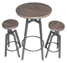 Load image into Gallery viewer, Zenvida 3 Piece Round Pub Table and Stool Set Wood Top Metal Bar Bistro