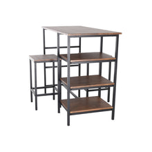 Load image into Gallery viewer, Zenvida Pub Table Set 3 Piece, 2 Stools Space Space Saver Kitchen Island With Storage Shelves Breakfast Coffee Bar Bistro