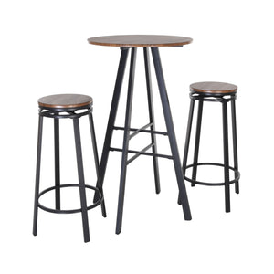 Zenvida 3 Piece Pub Table Set Round Bar Height Bistro Table and 2 Stools