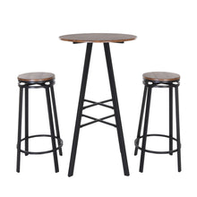 Load image into Gallery viewer, Zenvida 3 Piece Pub Table Set Round Bar Height Bistro Table and 2 Stools