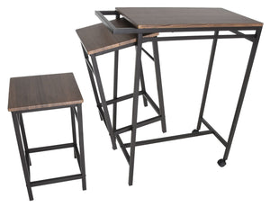 Zenvida 3 Piece Pub Table Set Breakfast Cart With 2 Stools Wood Counter Height Space Saver Mobile Kitchen Island