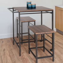 Load image into Gallery viewer, Zenvida 3 Piece Pub Table Set Breakfast Cart With 2 Stools Wood Counter Height Space Saver Mobile Kitchen Island