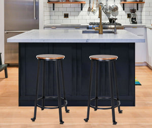 "Zenvida 29"" Bar Stools Set of 2 Round Metal Wood Rustic Industrial Backless Kitchen Counter Chairs"