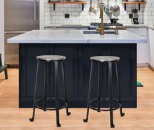 "Load image into Gallery viewer, Zenvida 29"" Bar Stools Set of 2 Round Metal Wood Rustic Industrial Backless Kitchen Counter Chairs"