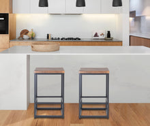 "Load image into Gallery viewer, Zenvida 24"" Counter Height Bar Stools Set of 2 Backless Industrial Modern Kitchen Island Chairs"