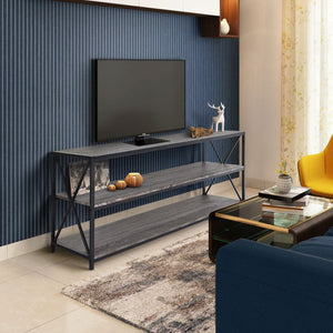 "Zenvida Universal TV Stand for TV's up to 65"" Metal Wood Living Room Storage Shelves Entertainment Center, 60 Inch"