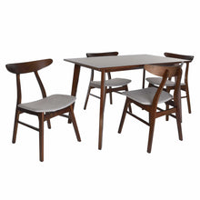 Load image into Gallery viewer, Zenvida Mid Century 5 Piece Dining Set Wood Table Fabric Chairs Seats Four