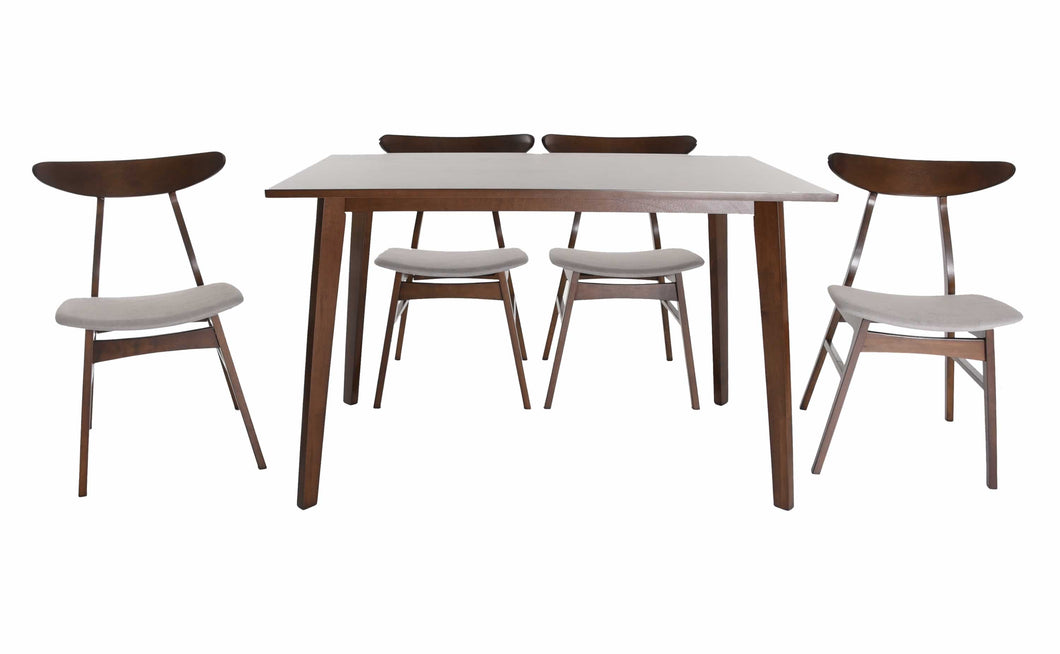 Zenvida Mid Century 5 Piece Dining Set Wood Table Fabric Chairs Seats Four