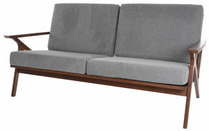 "Zenvida Mid Century Loveseat Square Arm 59"" Wood Frame Modern Living Room Sofa"