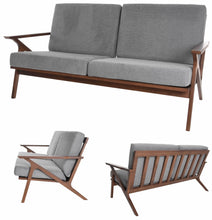"Load image into Gallery viewer, Zenvida Mid Century Loveseat Square Arm 59"" Wood Frame Modern Living Room Sofa"