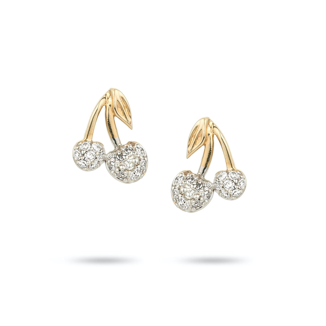 Adina Gold Pave Cherry Earring