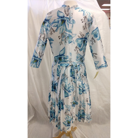 Blue Floral Brocade Dress