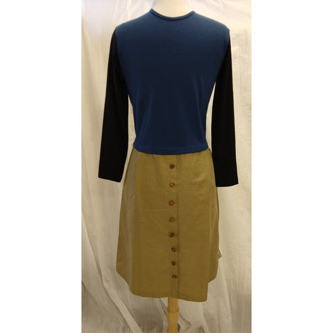 3-Tone Dress w Button Skirt